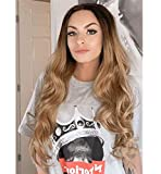 Peluca de encaje Vébonnie, para mujer, de color marrón, con encaje frontal, larga, de pelo sintético de Reino Unido, aspecto natural, rubia, con raíces onduladas para mujeres, 61 cm