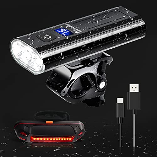 Seianders USB Rechargeable Bike Lights Front and Back, 6 Light Modes Super Bright Bike Headlight 5500 Lumen, IPX-6 Waterproof, Portable Household Flashlight, Suitable for All Mountain and Road Bikes
