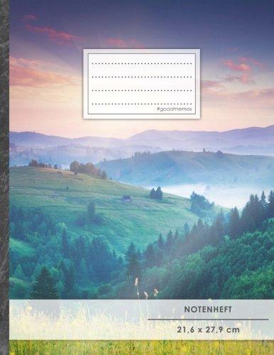 """Notenheft: DIN A4 • 48 Seiten, 24 Blatt, 12 Systeme, """"Wanderschaft"""" • Original #GoodMemos Schulheft • Mit Inhaltsverzeichnis und Seitenzahlen, Noten-Lineatur 14"""