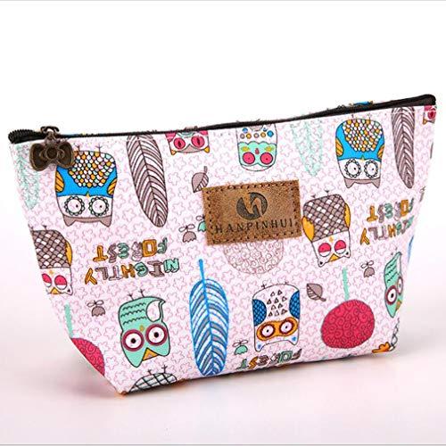 Kaned imprimé Sac cosmétique Cartoon Wash Bag Butterfly Pattern Petit Sac de Maquillage, Hibou Rose