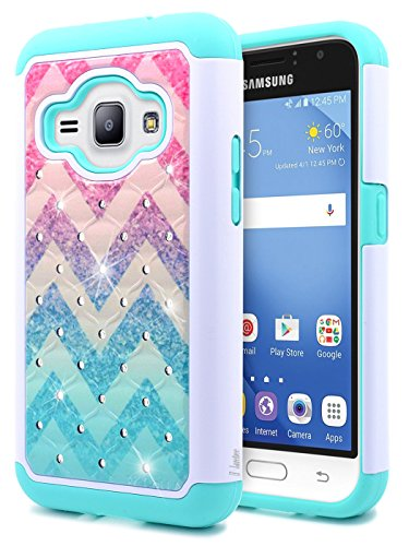 Galaxy Luna Case, Express 3, Galaxy Amp 2, NageBee [Hybrid Protective] Armor Soft Silicone Cover with [Studded Rhinestone Bling] Design Diamond Hard Case for Samsung Galaxy J1 2016 (J120) -Wave