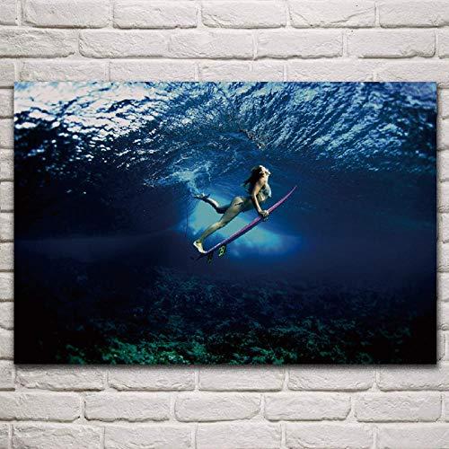 LKLKK Surfen Baby Bikini Unterwasser Mädchen Poster Wohnzimmer nach Hause Wanddekoration Leinwand Kunst Malerei 40x60cm (Rahmenlos)