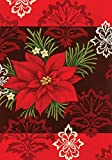 Toland Home Garden Red Damask 28 x 40 Inch Decorative Colorful Poinsettia Christmas Flower House Flag - 100571