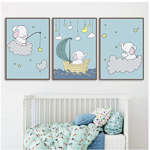 Elephant Star Moon Affiches et Posters Nordiques Wall Art Toile Peinture Animal Mur Photos Photos Bébé Garçon Fille Chambre Nursery Home Decor-40x60cm sans Cadre