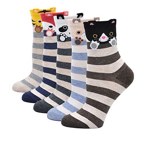 Artfasion Women Sock Cotton Cartoon Animal Food Dog Cat Pattern Ladies Cute Socks (Animal paw sock 5 pairs, Womens shoe size:5-10)