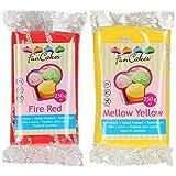 Funcakes - 2 X Paquetes de Fondant/Pasta de azucar de 250g (Rojo y amarillo)