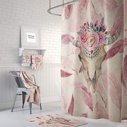 Ad4ssdu4 Boho-Chic Bull Skull Duschvorhang Badezimmer Beige Mauve Fallende Federn