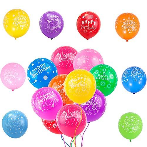 50 Stück Luftballons Bunt mit Happy Birthday Überschrift für kinderGeburtstag Deko,12 Zoll Natur latex Helium Ballons Mix Farben für Baby kinder Junge Jungs mädchen Jungen Geburtstag Party Dekoration