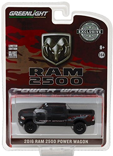 Dodge 2016 Ram 2500 Power Wagon Pickup Truck Matt Black Hobby Exclusive 1/64 by Greenlight 29901