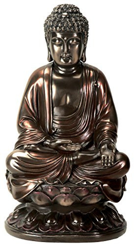 YTC 10 Inch Cold Cast Bronze Colored Resin Buddha on Lotus Statue