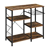 Mr IRONSTONE Kitchen Baker's Rack Utility Storage Shelf Microwave Stand 3-Tier+3-Tier Table for Spice Rack Organizer Workstation (Rustic Brown)