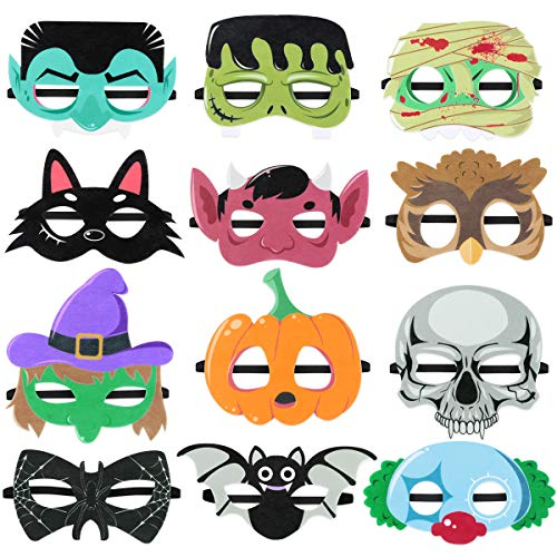 Toyvian Halloween Superhero Foam Mask Cartoon Witch Monster Bat Spider Felt Masks for Kids Halloween Party Favors 12 Pieces