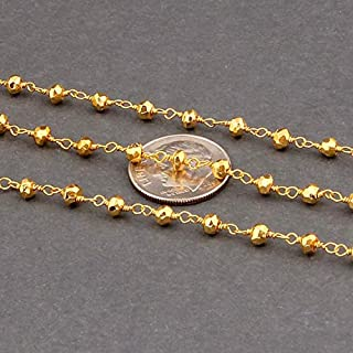 BEADS GEMSTONE 50 Feet Gold Pyrite 3-4mm Rosary Style Beaded Chain - Bulk Wholesale Beads wire wrapped 24k Gold Plated Cha...