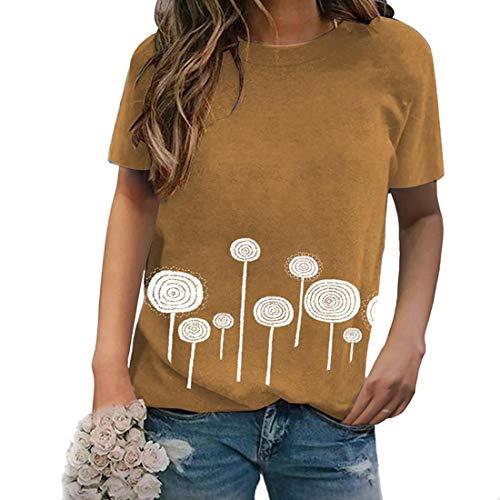 Camiseta para Mujer Camiseta de Verano para Mujer con Cuello Redondo y Manga Corta Camisetas de béisbol Camiseta para Mujer Camiseta estampad Tops Camiseta con Estampado de piruleta de Cuello Redondo