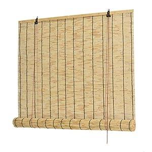 Geovne Cortina de Paja,Estores de Bambú,Persianas Romanas Retro,Estor Enrollable de Bambú Natural,Aislamiento Térmico/Transpirables/Naturales,Decoración Interior/Exterior (100x150cm/39x59)