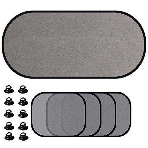 Delmkin Auto-Sonnenschutz 5-Set Sonnenblenden für Seitenfenster und Heckscheibe Schutz vor schädlicher UV-Strahlung