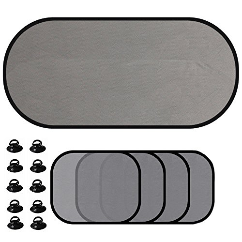 delmkin Auto de protección solar 5Juego de parasoles para ventana lateral y luna trasera Protección contra la radiación UV Nociva
