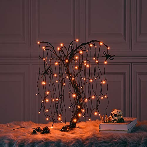 LIGHTSHARE 24-inch Halloween Willow Tree LED Bonsai Night Light,80 LED Lights, Battery Powered or DC Adapter(Included),Orange for Home, Festival,Nativity, Party, and Christmas Decoration (Santa's Best 7.5 Starry Light Microlight Tree W Flip Leds)