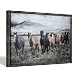 SD SOFT DANCE Wild Horses Wall Art Print - Animals Walking in Nature Wooden Picture with Rustic Wood Frame for Living Room & Office Decor 36''x24''