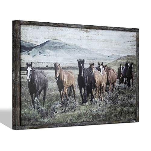 Wild Horses Wall Art Print - Animals Walking in Nature Wooden Picture with Rustic Wood Frame for Living Room & Office Decor 36''x24''