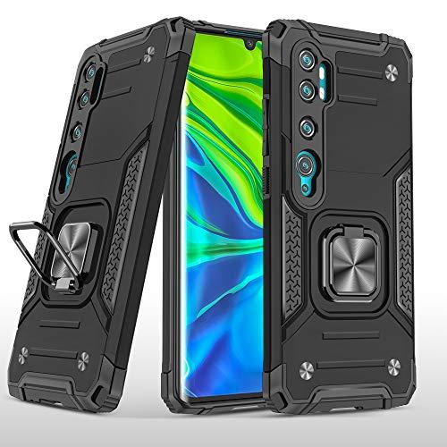 SORAKA Funda para Xiaomi Mi Note 10/Mi Note 10 Pro con Anillo,Carcasa a Prueba de Golpes,Borde de Silicona Suave,Cubierta Trasera rígida de PC con Placa de Metal para Soporte magnético teléfono móvil