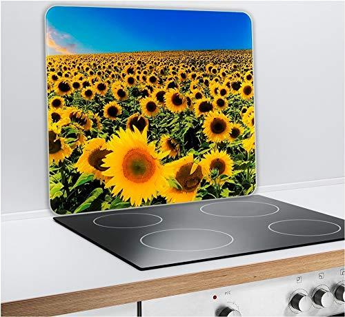 Multi-Platte Sonnenblumenfeld für Glaskeramik Kochfelder, Schneidbrett, 2 sortiert Dekor Mehrzweck Sonnenblumenfeld - 56 x 50 cm - Mehrfarbig