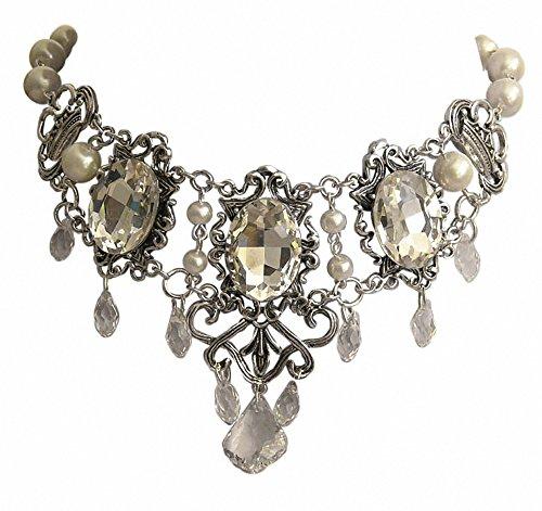 Trachtenschmuck Dirndl Collier Gothic Kristall Kropfkette Crystal klar Antikstil