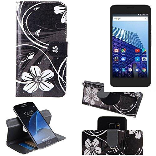K-S-Trade® Compatibile con -Archos Access 55 3G- Copertura Smartphone Cassa di Protezione Slim Flipstyle Cover Custodia Protettiva Portafoglio Libro Book Style Case Wallet Etui Fiori