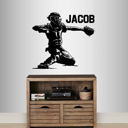 BASEBALL pitcher catcher hitter outfielder vinyl decal sticker for car locker window laptop notebook etc  pick your color and size
