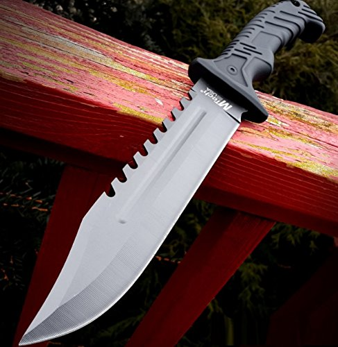 """AvaLittle 13"""" Black Tactical Survival Rambo Hunting Fixed Blade Knife Army Bowie w/Sheath"""