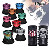 Gxhong Pañuelos Cabeza Multifunción Bufanda Bandana, 10pcs pañuelos de calavera para Halloween, turbante mágico, bufanda estampada para Halloween Cosplay Party