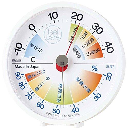 エンペックス気象計 温度計・湿度計 ホワイト (約)高さ12.4×幅12.0×奥行き2.7cm