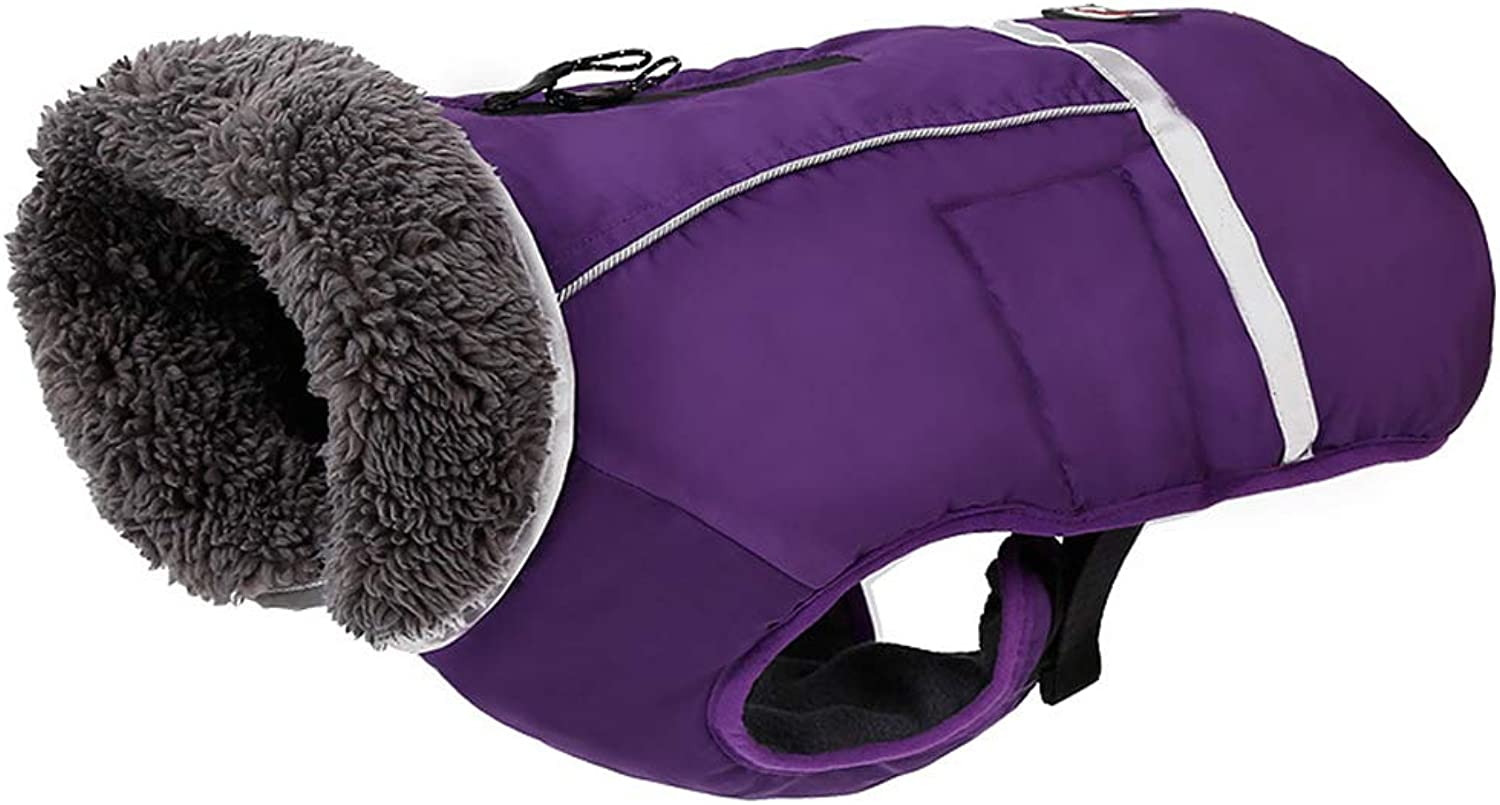 QBLEEV Reflective Pet Dog Coat with Furry Collar,Cold Weather Jacket Vest Apparel for Puppies,Waterproof Windproof Clothes Soft Fleece Lining,Adjustable Buckle Closure,Zipping Hole for The Leash