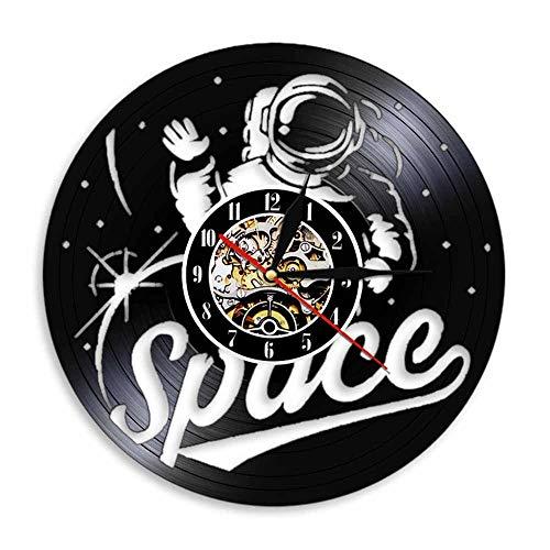 Enofvd Astronauta Silueta Sombra Reloj de Pared Universo Espacial Arte de la Pared Disco de Vinilo Reloj de Pared Reloj diseño Regalo para los Amantes del Espacio 12 Pulgadas