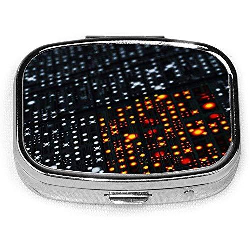 Informática Chip electrónico Diseño personalizado Caja de píldora de plata cuadrada Medicina decorativa Vitamina Organizador Regalo