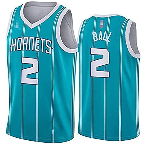 NBA Charlotte Hornets # 2 Lamelo Ball -Ropa Jerseys de Baloncesto para Hombres, Chaleco Transpirable Suelto Uniformes Classic Comfort Camiseta sin Mangas Tops, Más cómodo, mejor cali(Size:L,Color:G1)