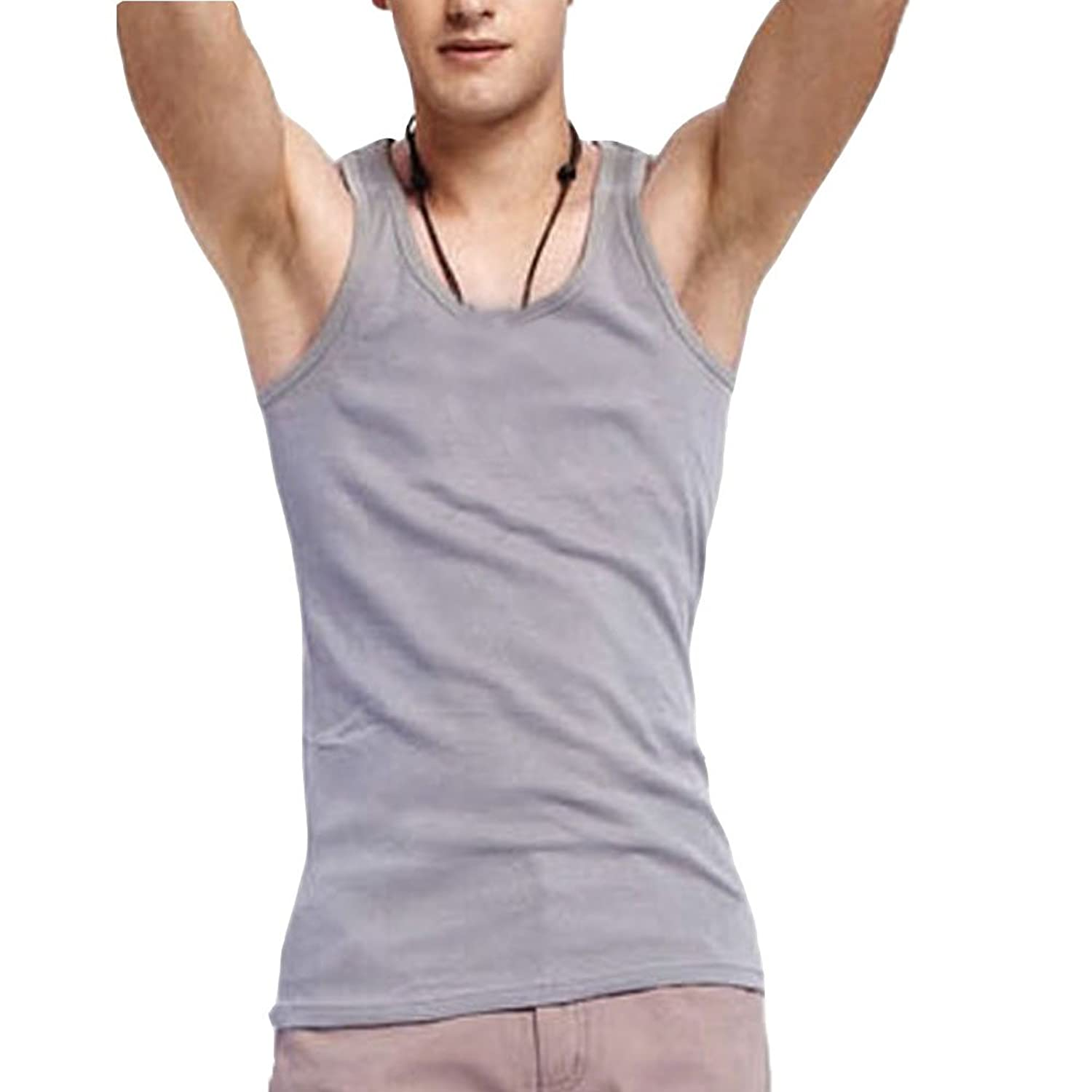 Linyuan ファッション Men's cotton elastic tank top タンクトップ fitness slim vest nightdress