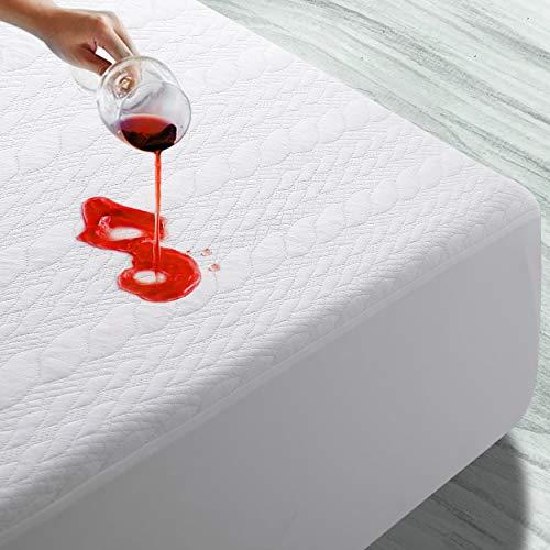 EMONIA Protector de colchón impermeable de bambú 3D, transpirable, antialérgico, antiácaros (160 x 200 cm)