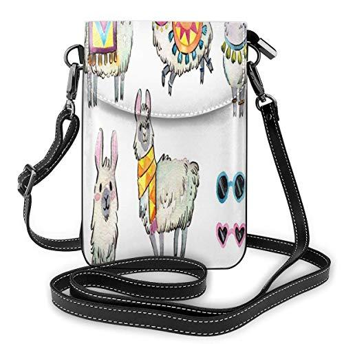 Llama-Clipart Llama, borsa a tracolla da donna, leggera, portatile, in pelle sintetica, impermeabile, mini borsa a tracolla, facile da pulire, per shopping, data, escursionismo