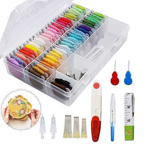 iPobie Kit di Attrezzi a Punto Croce,Ricamo Starter Kit/50 Colori a Punto Croce con Organizzatore