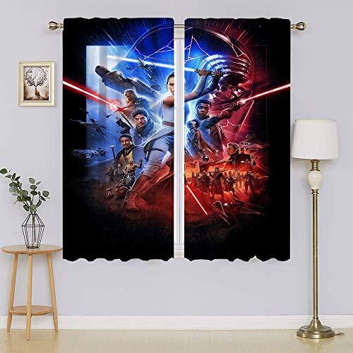 Cortinas opacas de Star Wars Rise of Skywalker para ventana, filtrado de luz, cortinas de privacidad para el pasillo de 182 x 163 cm