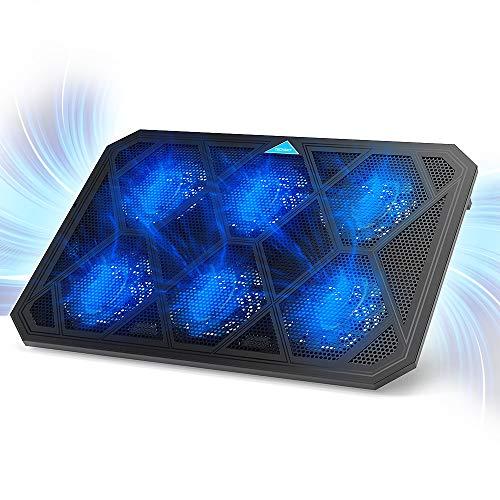 """TECKNET Base di Raffreddamento per PC, Pad di Raffreddamento con 6 Ventole Ultra Silenziose e Altezza Regolabile, Stand di Raffreddamento per Notebook Fino a 19"""""""