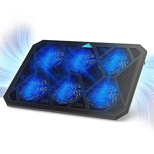 TECKNET Base de Refrigeración Gaming Ordenador Portátil hasta 19 Pulgadas, 6 Ventiladores Silenciosos y Potencias con LED Azul, 2USB 2 Niveles de Altura Ajustable
