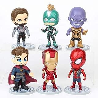 Yingred Titan Hero Series Exclusive-Iron Man、Spider-Man、Thanos、Captain Marvel、Captain America、Doctor Strange 6 Figure Set,Car Decoration and Cake Decoration
