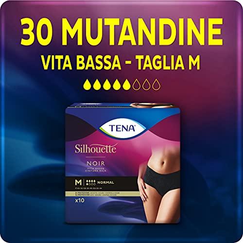 Tena Silhouette, Noir, Vita Bassa, Taglia M, 30 Mutandine