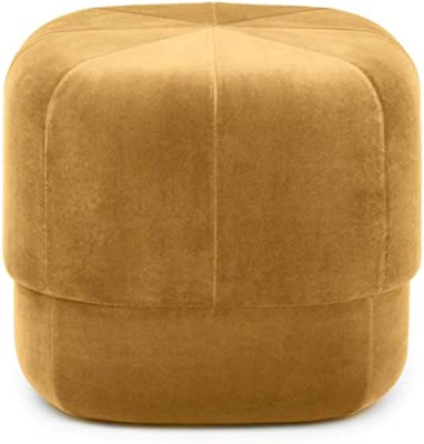 Small Ottoman Foot Rest Stool for Under Desk at Work,Living Room Fabric Sofa Footrest, Bedroom Round Pier Ottomans, Home Entrance Multifunctional Shoe Bench (Color : Yellow, Size : 60 * 60 * 35cm)