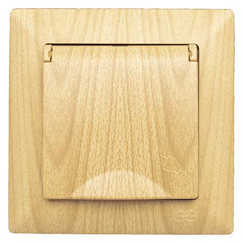 Visage - Enchufe con tapa para empotrar (aspecto de madera de roble,...