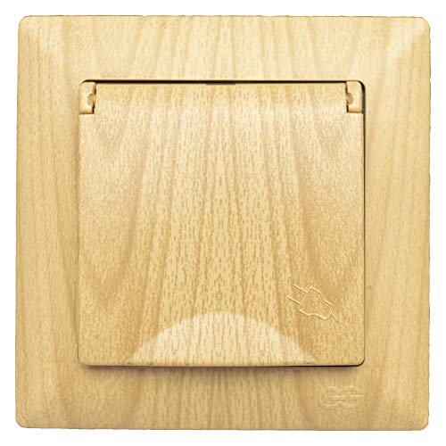 Visage - Enchufe con tapa para empotrar (aspecto de madera de roble, práctico sistema de bornes, conexión de cable sin tornillos)