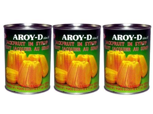 Aroy-D - Jackfruit in Sirup - 3er Pack (3 x 565g/ATG 230g) - Gelbe Jackfrucht aus Thailand