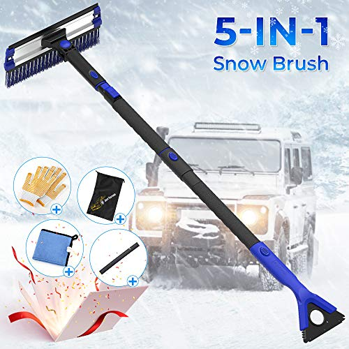 "Product Image of the JOYTUTUS Snow Brush, 5-in-1 Extendable 21""-47' Snow Brush for Car, Durable & Sturdy, No Scratch, 270° Auto Snow Scraper with Brush, Foam Grip, Detachable ABS Ice Scraper for Car, SUV, Truck(Blue)"